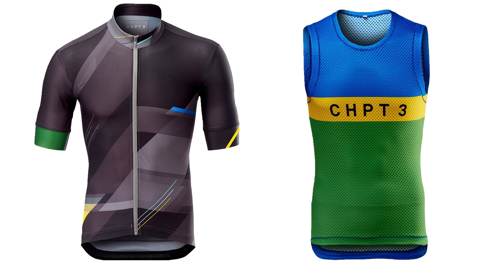 The jersey and baselayer contrast to symbolise the two distinct halves of the race