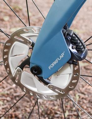 Aero 'Forkflap' covering disc brake caliper