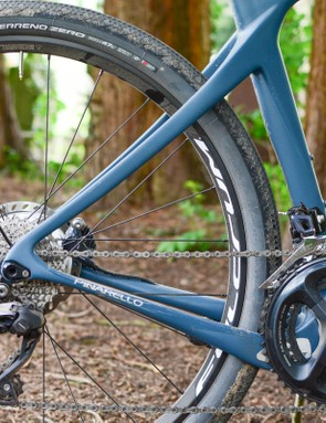 Rear triangle of Pinarello Grevil showing asymmetry of stays