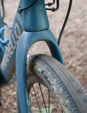 Large front tyre clearance on Pinarello Grevil gravel bike
