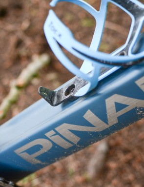 Pinarello downtube with bottle cage sitting in recess
