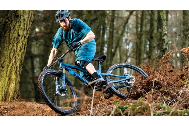Male cyclist rides mountain bike in woodland