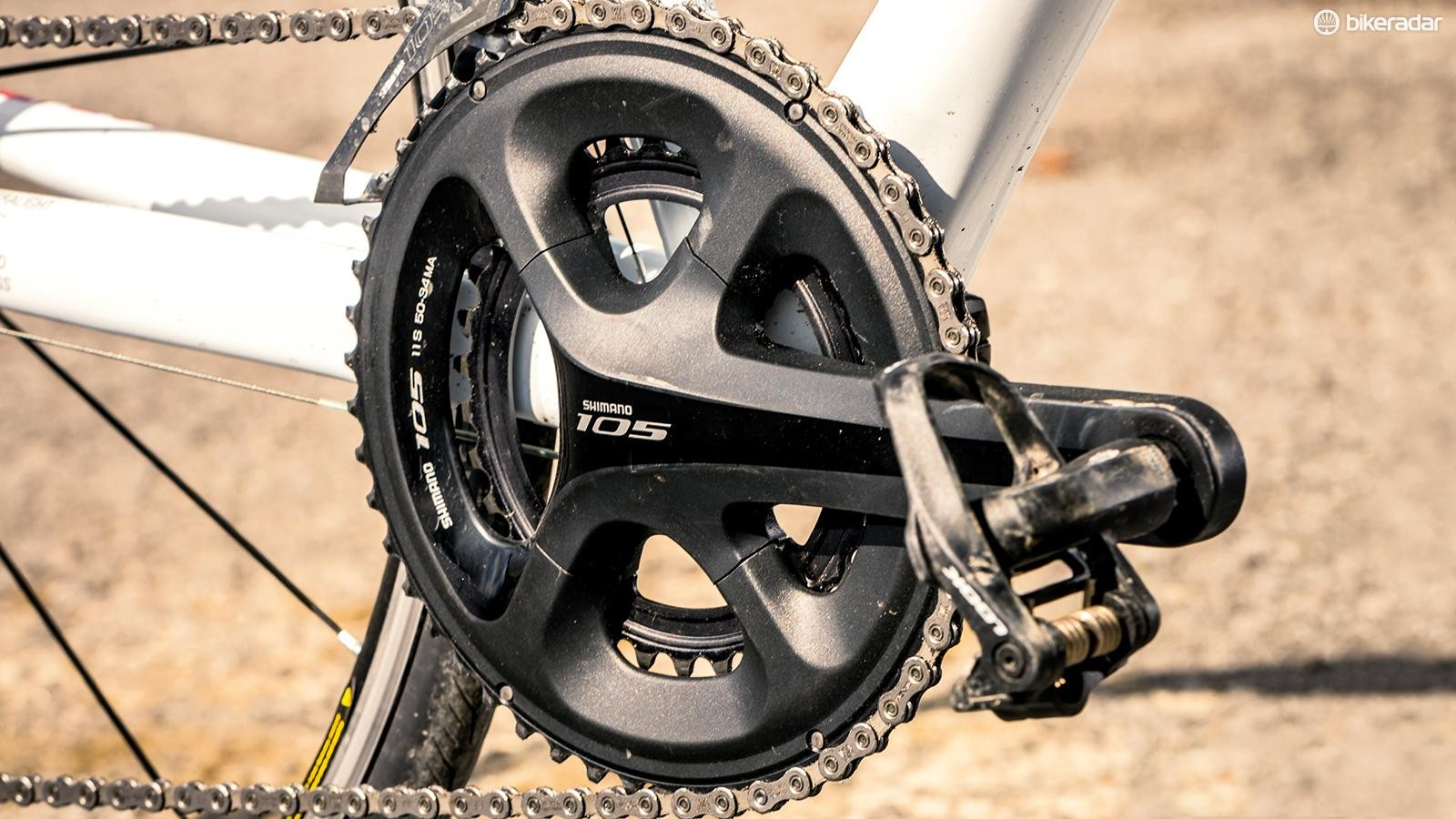 Shimano 105 crankset with hollow forged crank arms