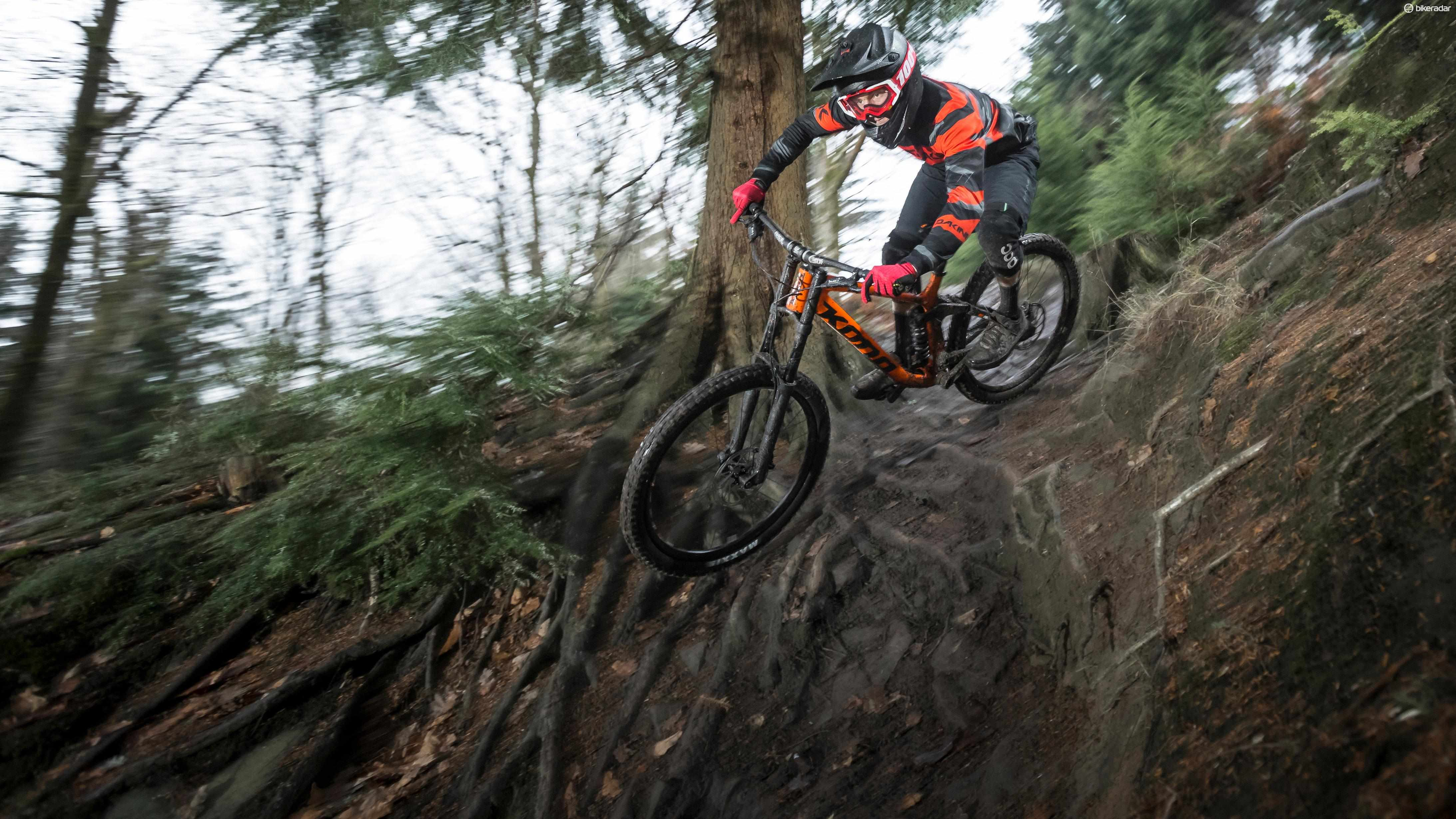 MBUK staff writer Ed Thomsett testing the Kona Operator DL at the Forest of Dean
