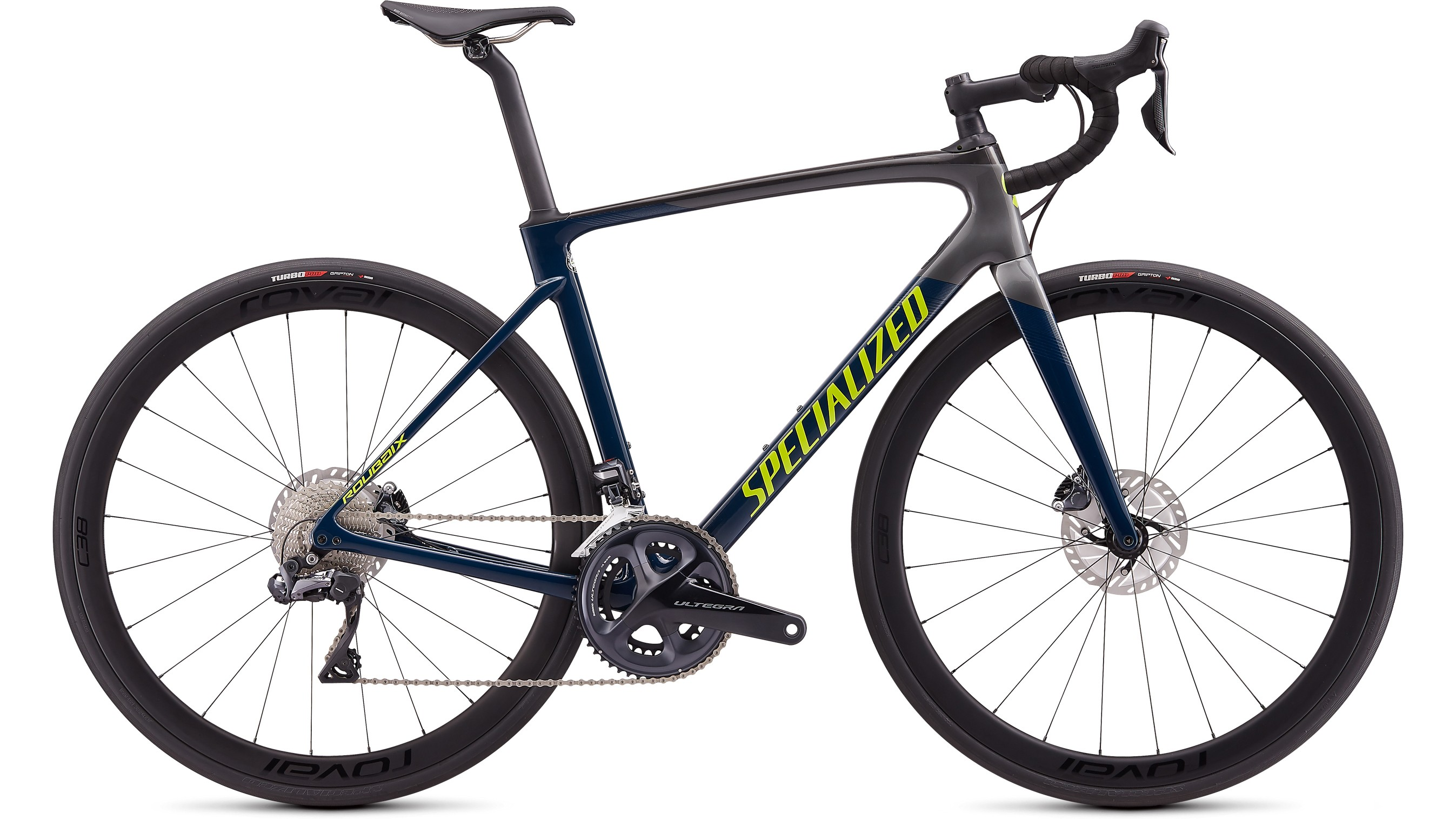 Side on image of S-Works Roubaix Expert Ultegra Di2 in blue and grey