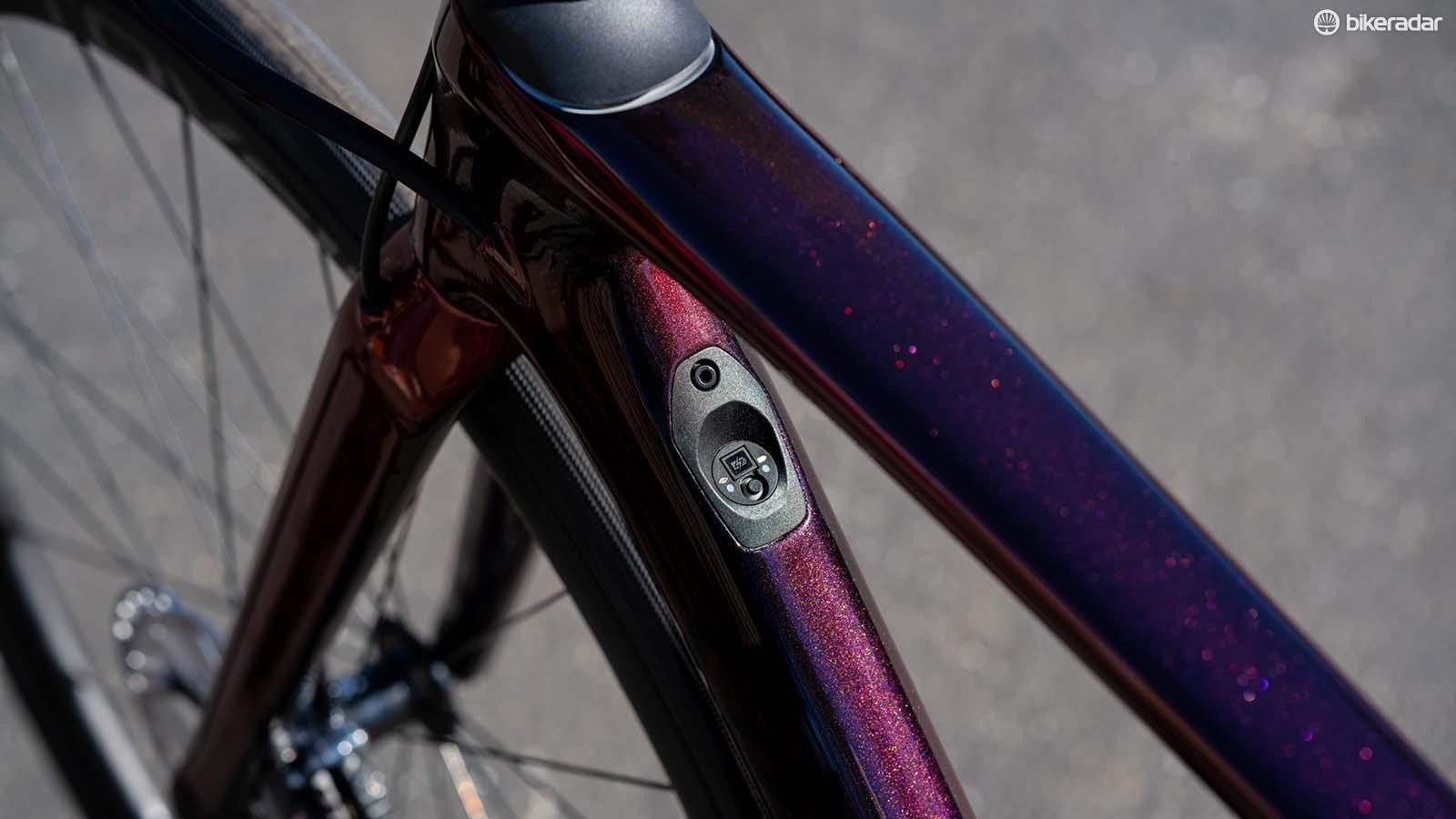 The Roubaix's downtube has a port for Shimano Di2 but it's blanked out on SRAM eTap equipped bikes.