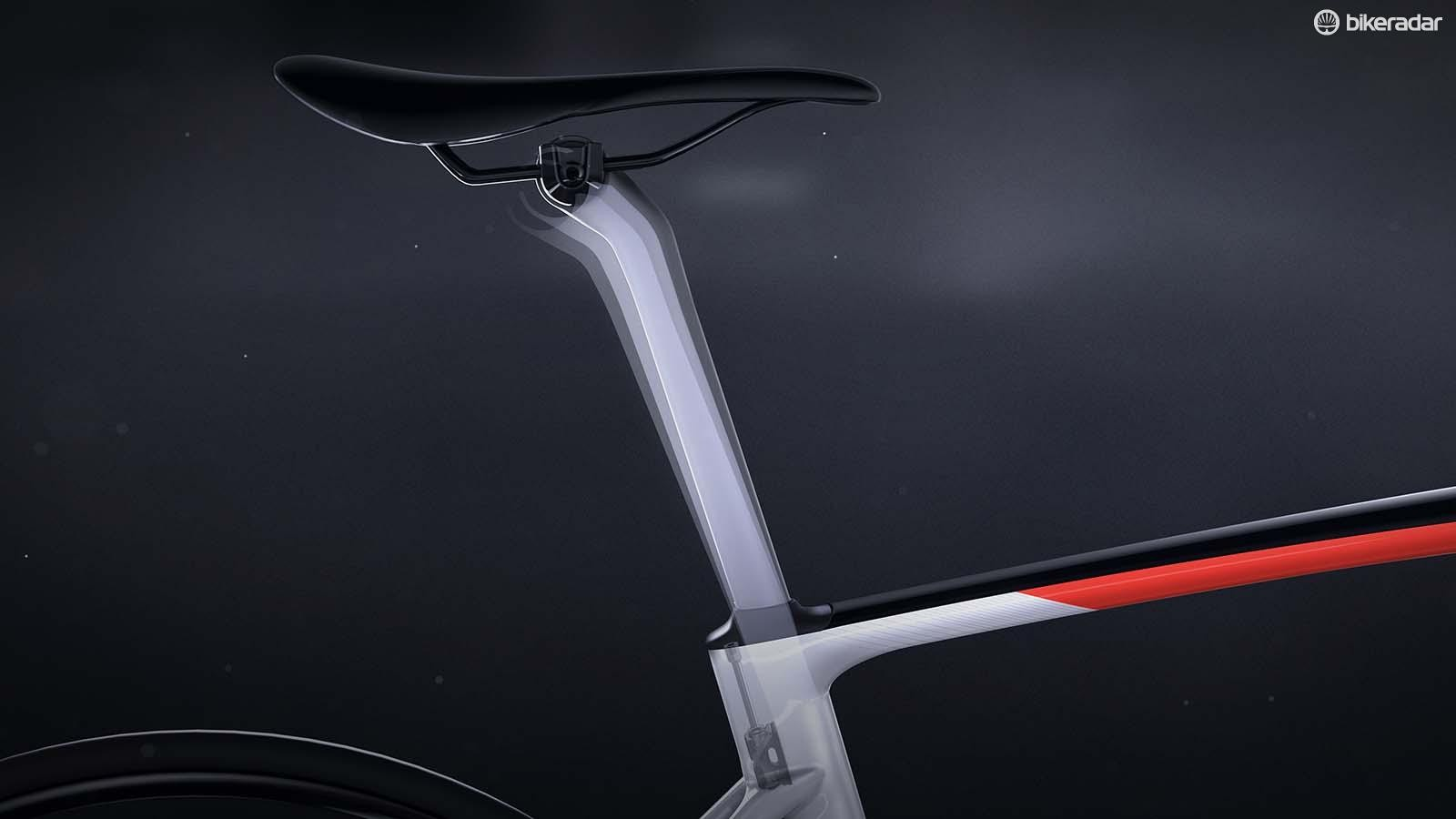 The S-Works Pavé post moves fore and aft to absorb shock