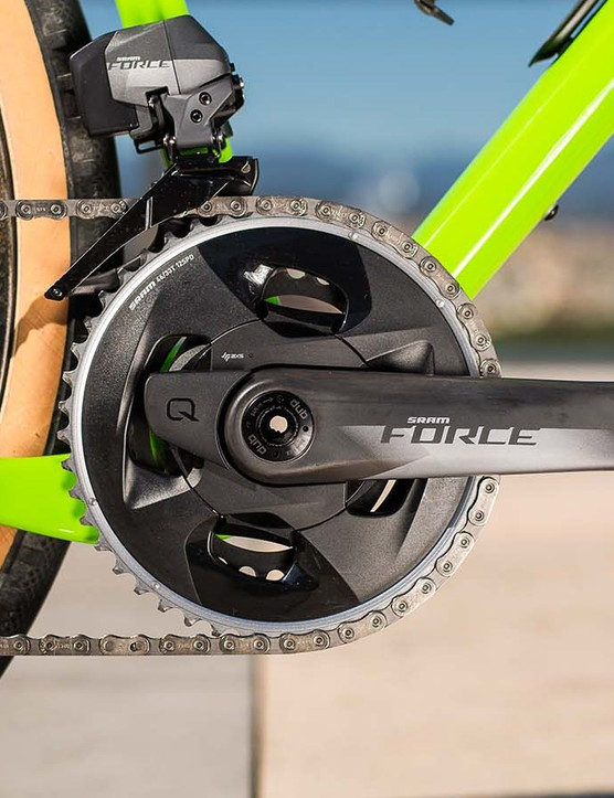 The chainrings mount with a more traditional pair of rings bolted onto a spider, rather than RED's elaborate and costly one-piece design