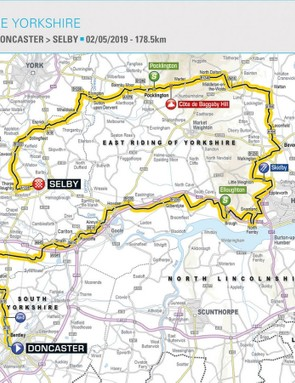 Stage 1 is a 178.5km race from Doncaster to Selby