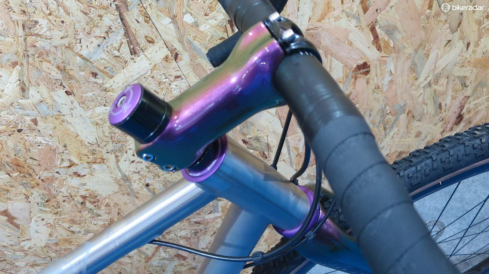 The colour-coded stem and fork is a nice touch on the Double Ace Ti
