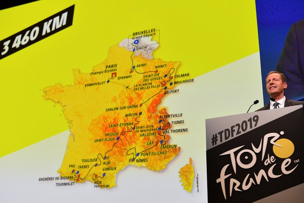Christian Prudhomme presenting the route for the 2019 Tour de France