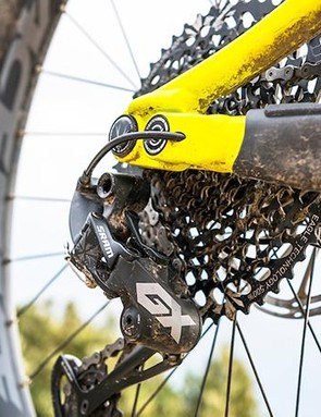 The SRAM GX Eagle drivetrain is a common sight on mid-priced trail bikes