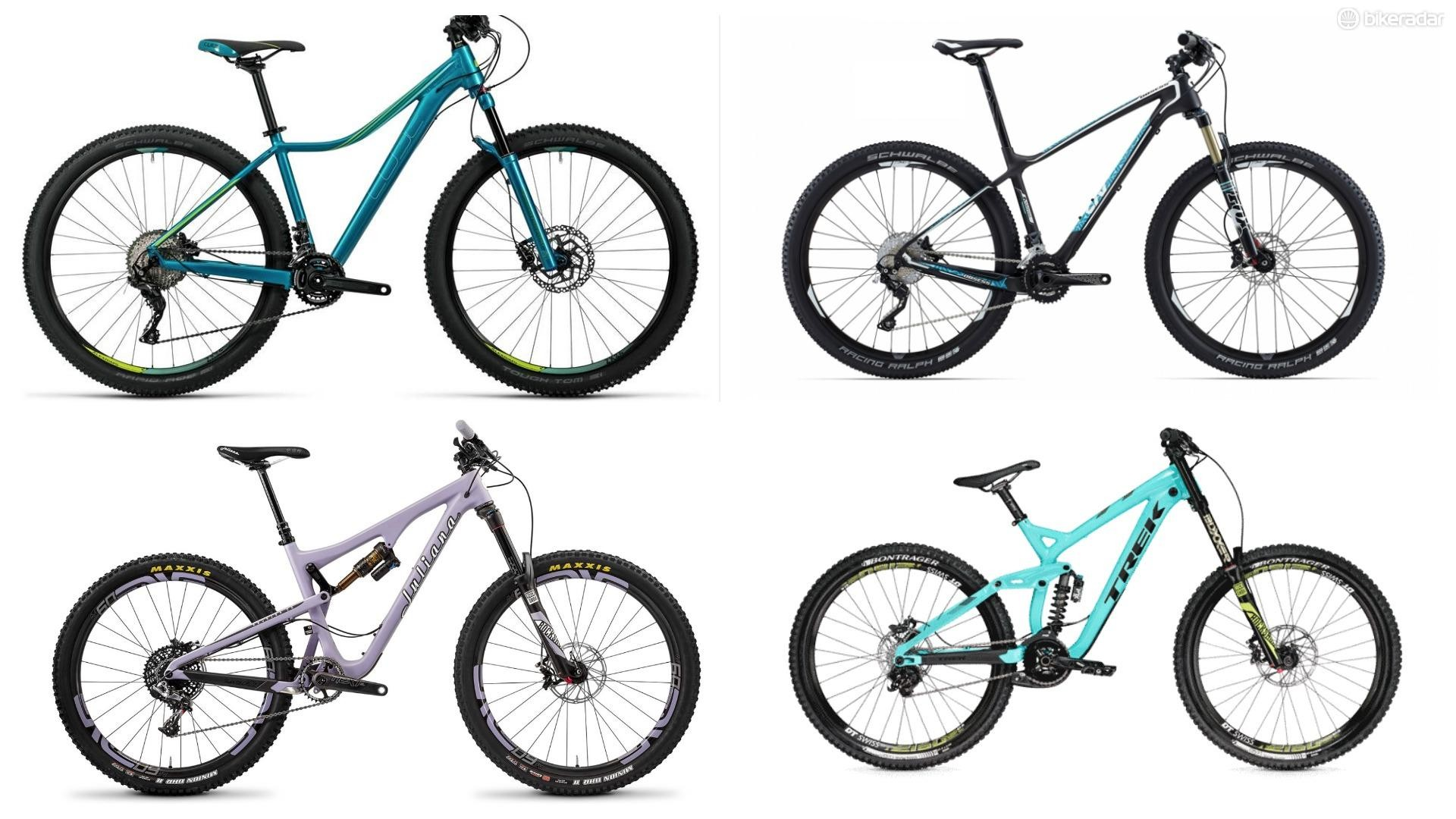 The different types of mountain bike (clockwise, starting top right) cross-country, downhill, enduro, trail, hardtail