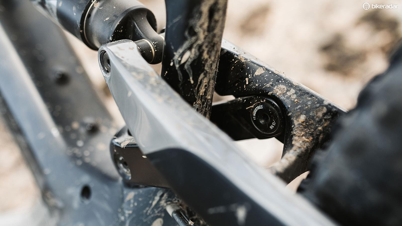 The bearings on the link are accessed internally to help the bike look clean