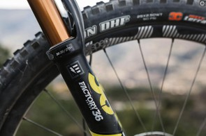Fox's 36 FLOAT Factory E forks help give the bike its gravity-based pedigree