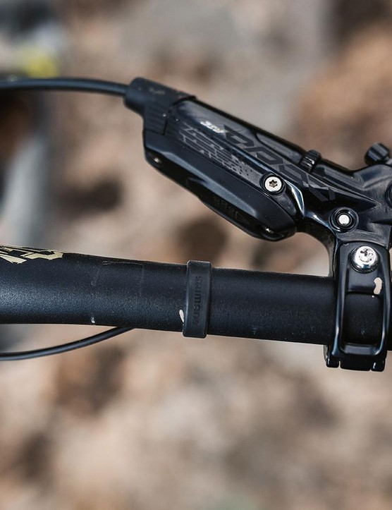 SRAM Codes brakes take care of slowing down the Decoy, and Shimano's Di2 shifter is sleek but takes a little time to get used to