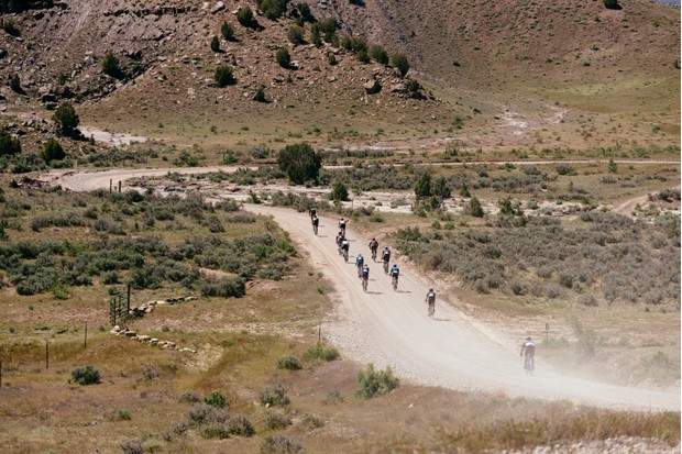 Cyclists riding on gravel at Wild Horse Gravel
