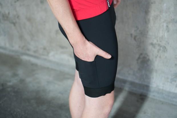 Cyclist demonstrating leg pocket of cycling shorts