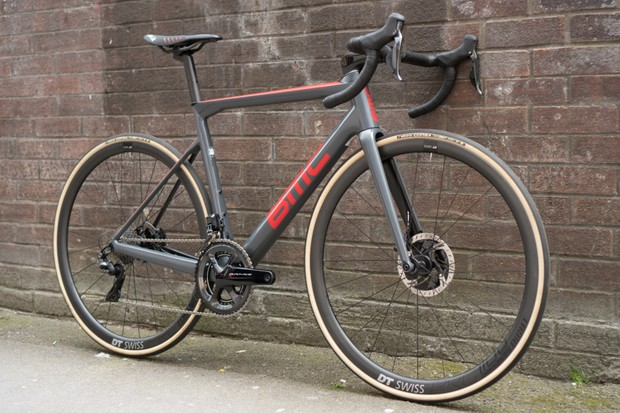 High-end road bike with tan wall tyres