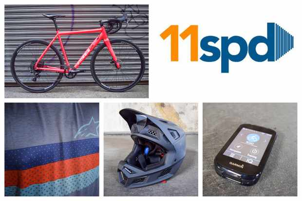 A collage of cycling kit including a bicycle, a jersey, a full face helmet and a Garmin GPS computer