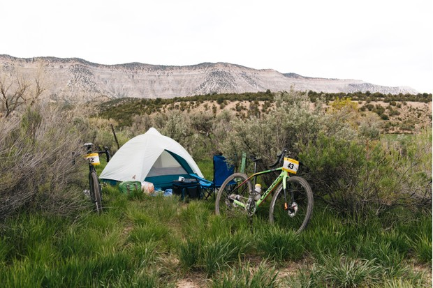 Tent and gravel bike at the Wild Horse Gravel