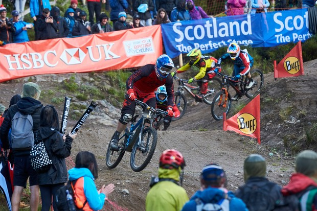 Tomáš Slavík leading men's race. 4X racing. Fort William World Cup. Fort William, Scotland . June, 2017