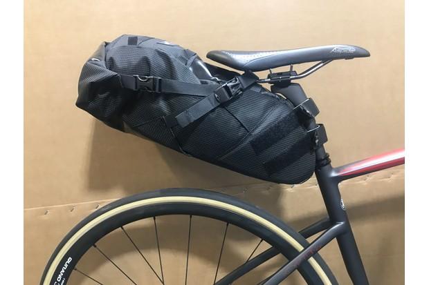 Black rear saddle bikepacking bag from Miss Grape