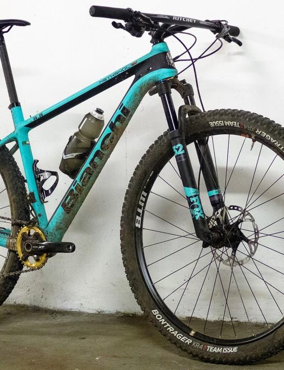 hardtail mountain bike against wall