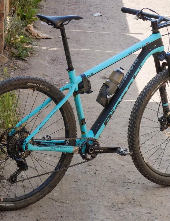 hardtail mountain bike next to wall