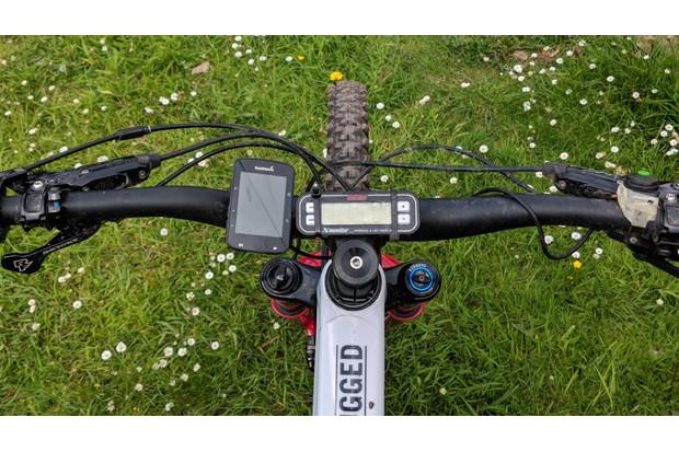 DRC timer and Garmin GPS on a Bold Unplugged enduro mountain bike