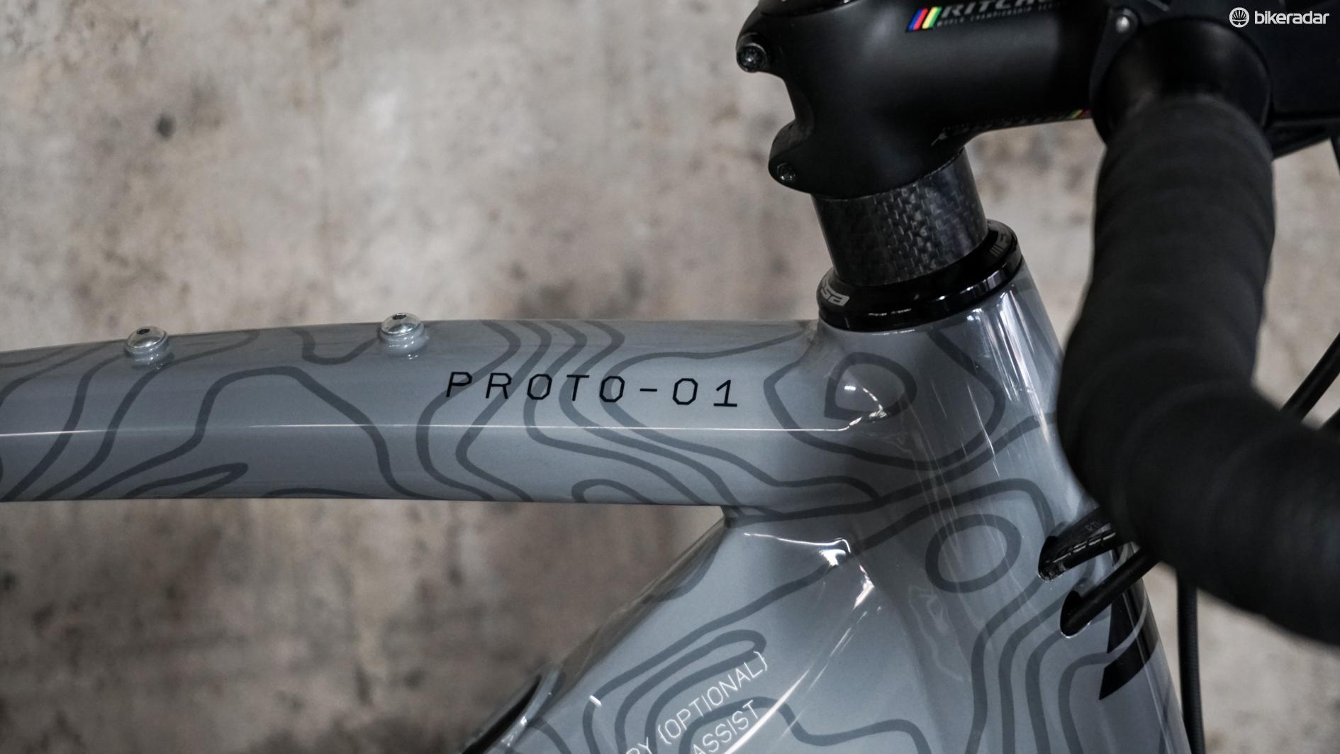 prototype gravel e-bike topography on headtube
