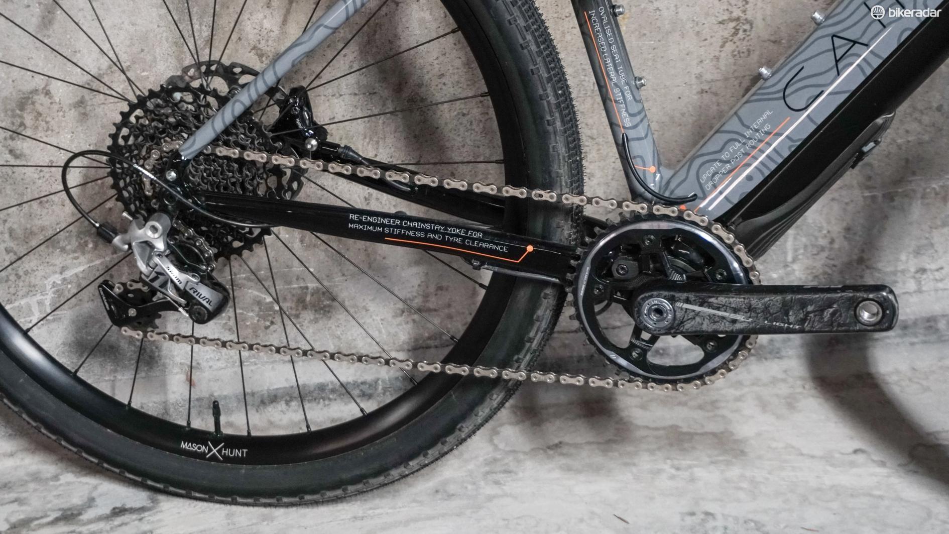 1x SRAM Rival drivetrain on e-bkie gravel bike