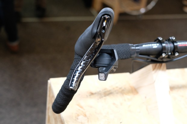 Ingrid components 1x12 groupset drop bar shifters front view at Bespoked 2019