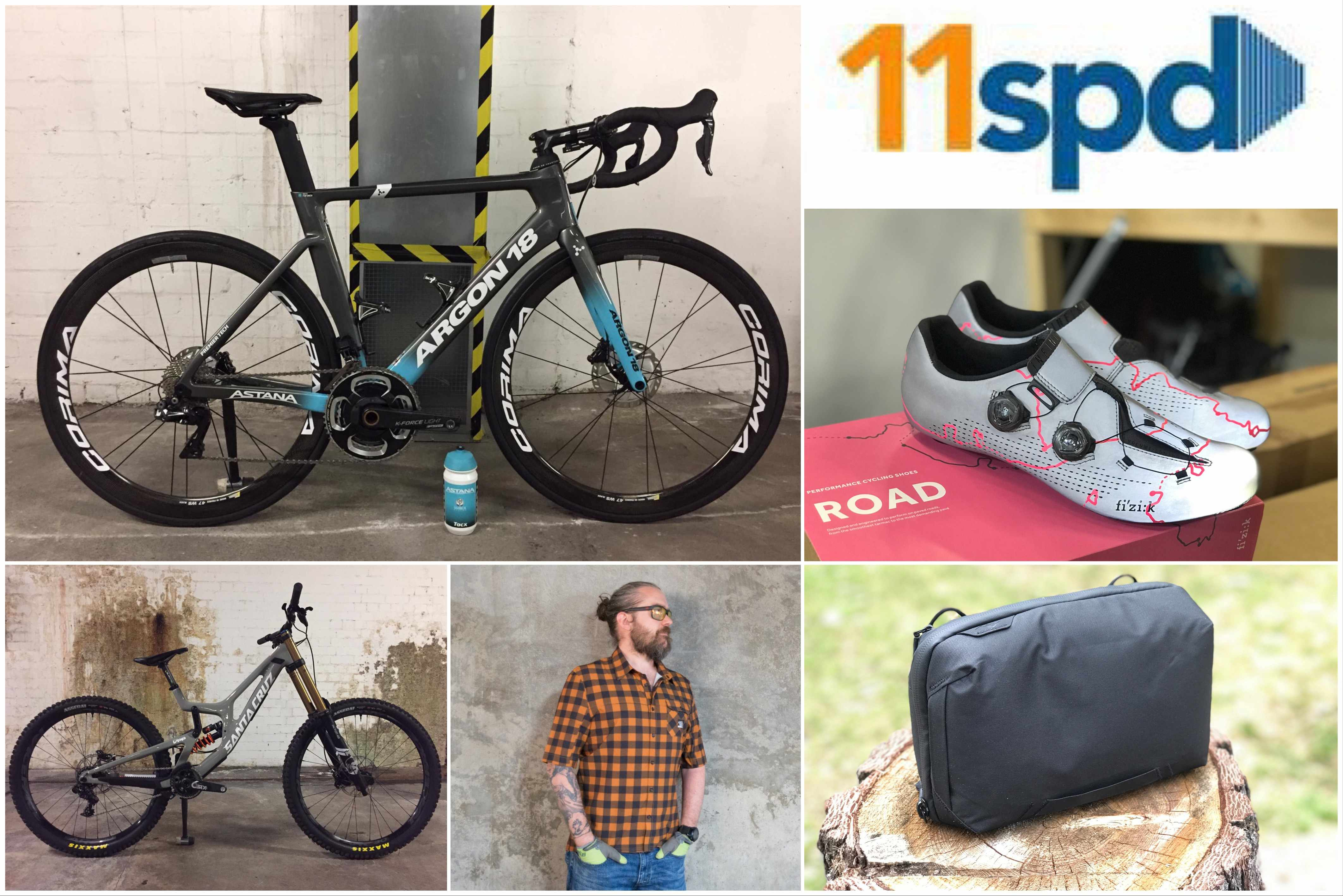 Collage of images including Santa Cruz V10 downhill mountain bike, Fizik shoes, Morvelo shirt, Peak Design bag and Argon 18 Nitrogen Disc road bike