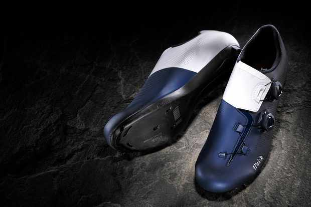 White and blue road cycling shoe