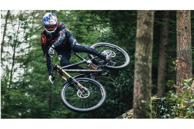 Gee Atherton rides Atherton-branded downhill mountain bike