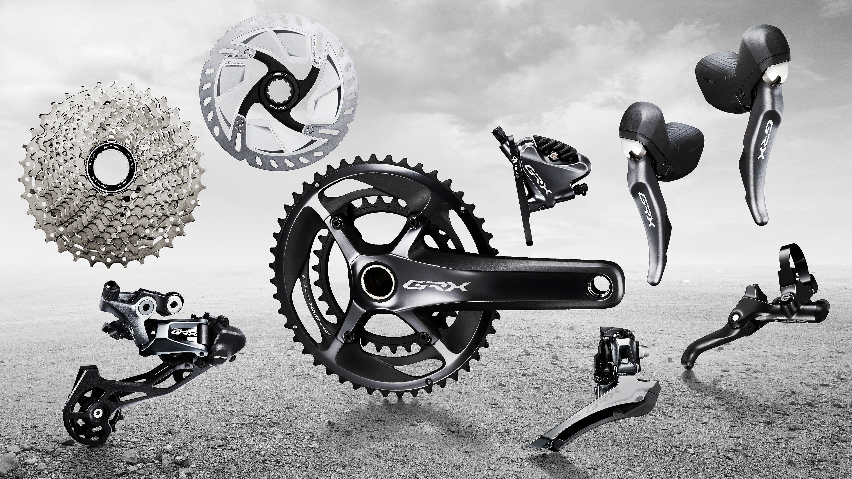 Shimano GRX mechanical 11-speed components including cranks, levers, derailleur, brakes