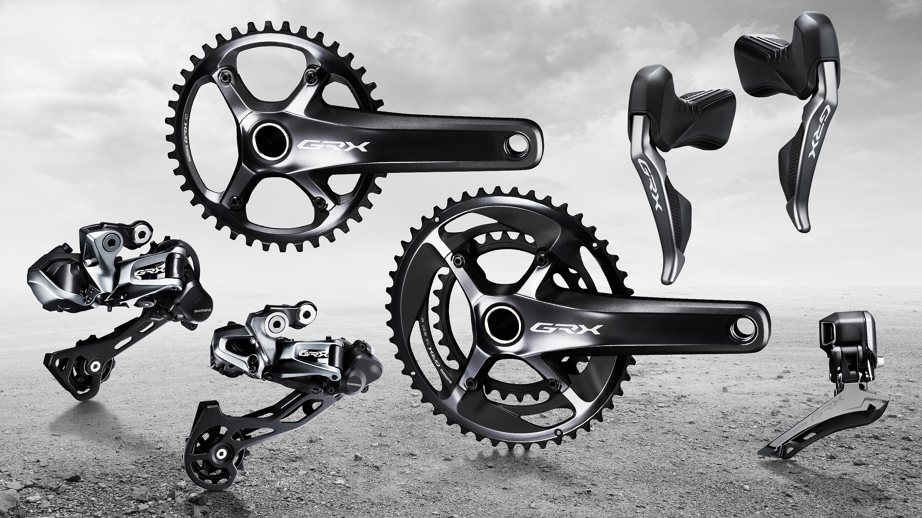 Shimano GRX Di2 levers, cranks and derailleurs