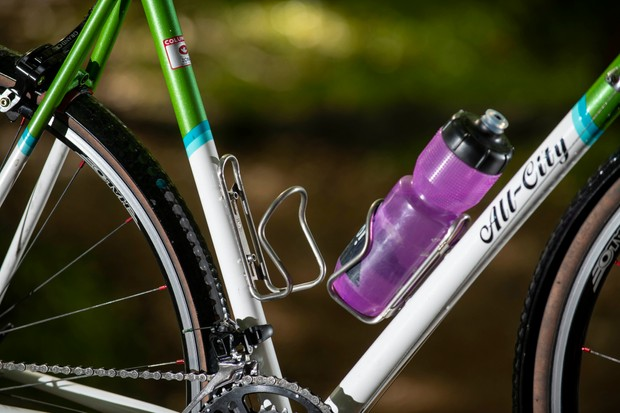 Silca water bottle cage attached to a road bicycle