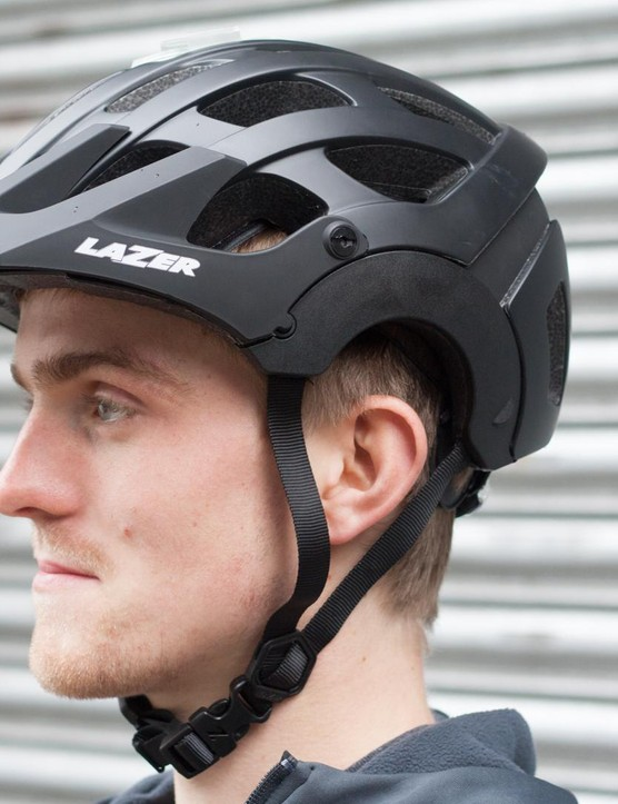 male cyclist wearing helmet