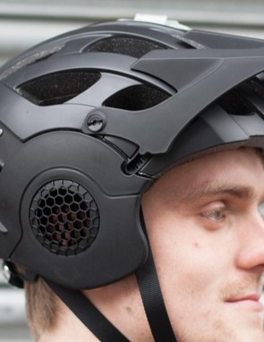 male cyclist wearing helmet
