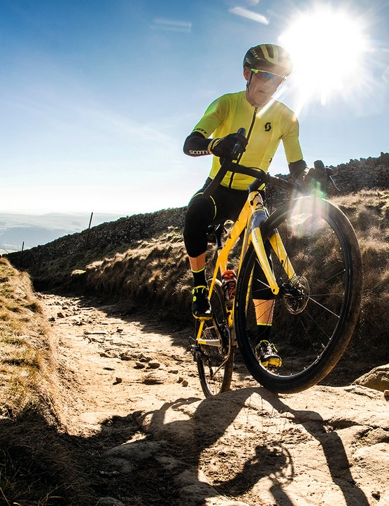 Climbing rough terrain on a gravel bike