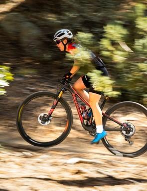 Pivot rider Chloe Woodruff putting the Mach 4 SL through its paces