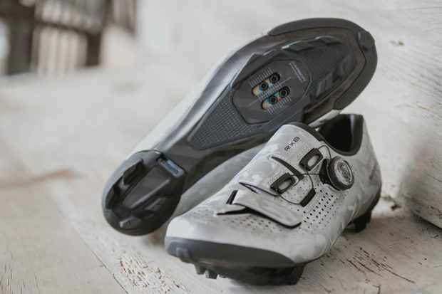 Shimano's new RX8 with one shoe turned up to see the sole