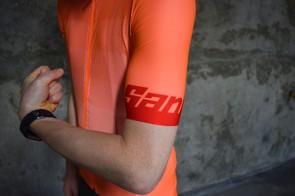 Santini orange-coloured cycling jersey sleeve