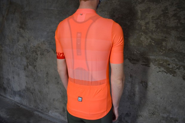 Santini orange-coloured cycling jersey
