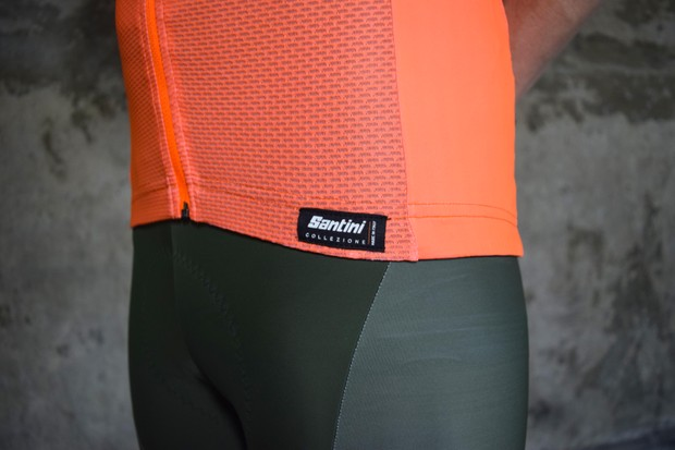 Santini orange-coloured cycling jersey