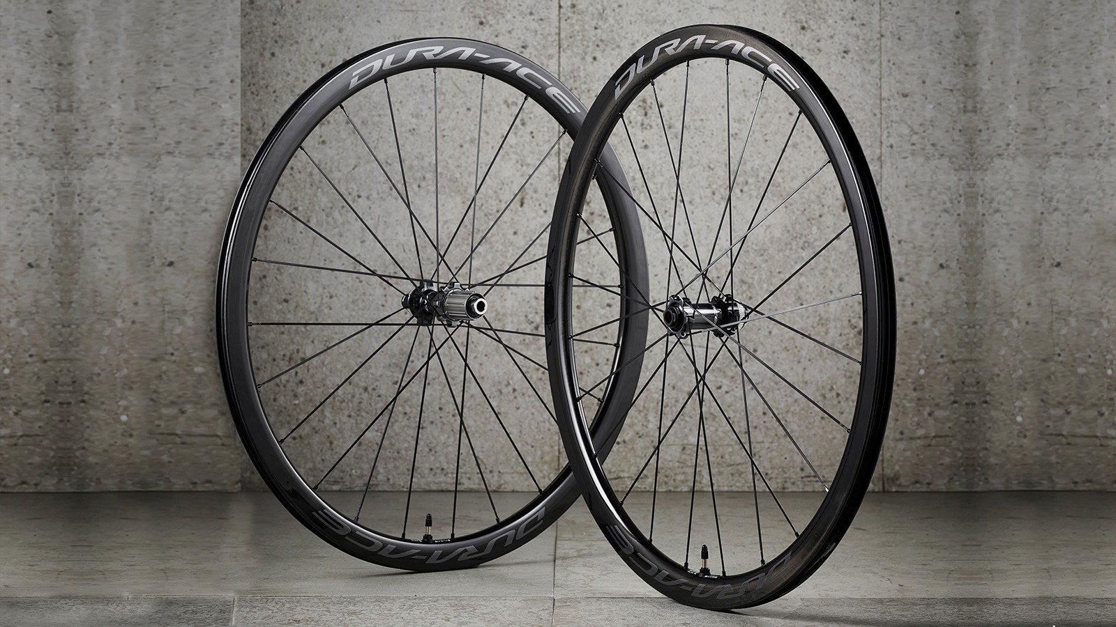 Road bike wheelset againt concrete wall
