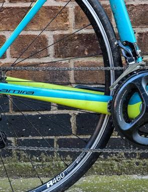 Shimano Ultegra groupset on blue women road bike
