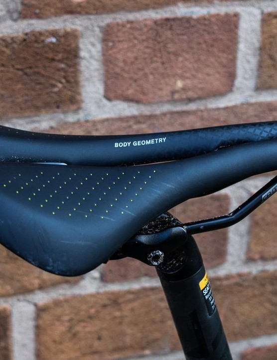 Specialized Oura saddle on blue road bike